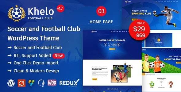 Khelo - Soccer WordPress Theme