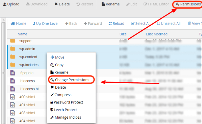 cPanel to set correct WordPress file and folder permissions
