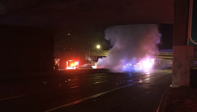 Driver arrested for DUI after car crashes, catches fire on 195