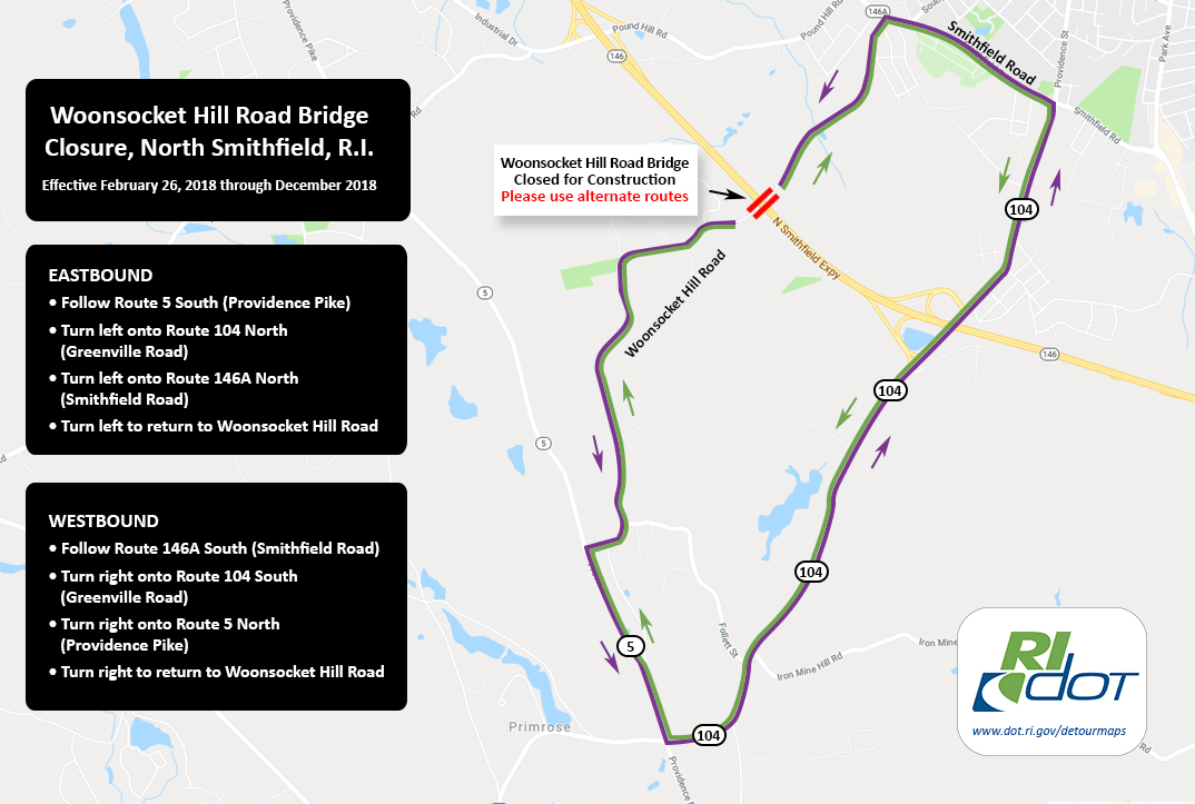 Woonsocket Hill Road Bridge Detour Starting Monday, February 26, 2018._649848