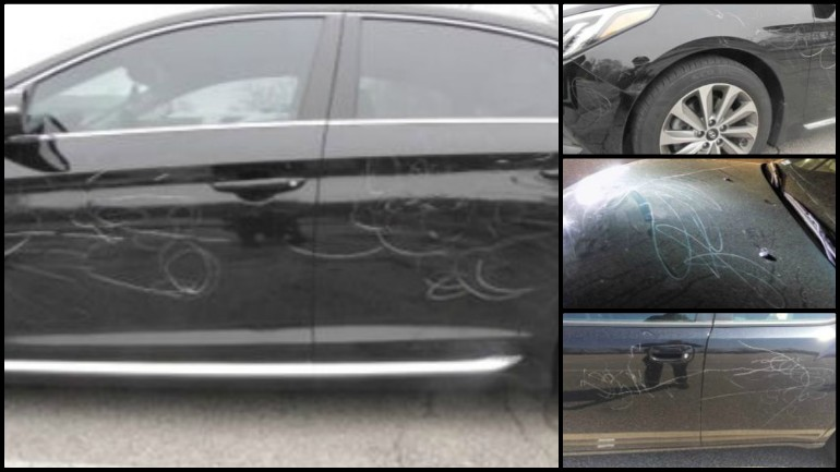 URI cars vandalized