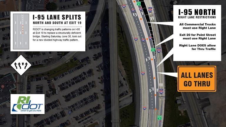 RIDOT I-95 Providence lane splits