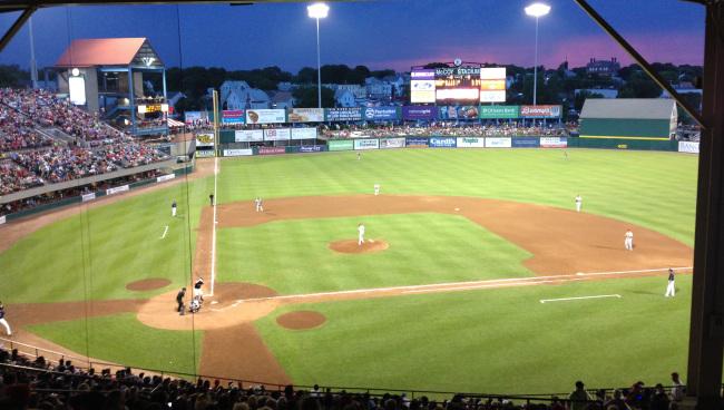 PawSox McCoy Stadium at night
