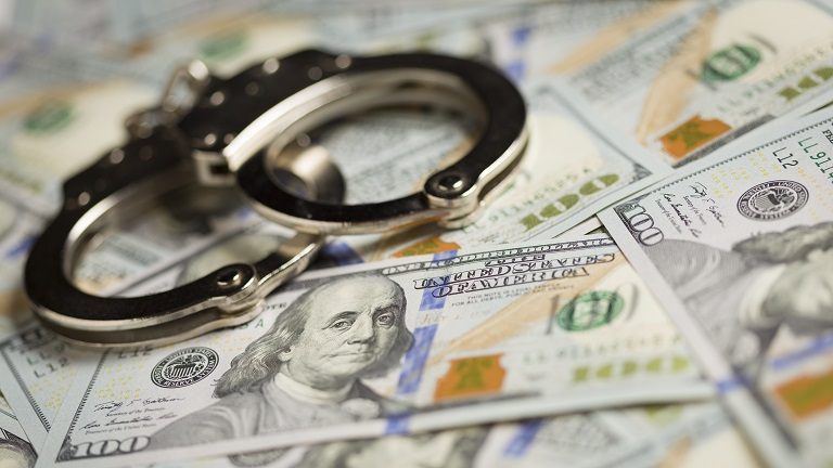 Handcuffs on cash money