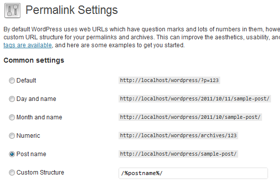 permalink settings in wordpress 3.3