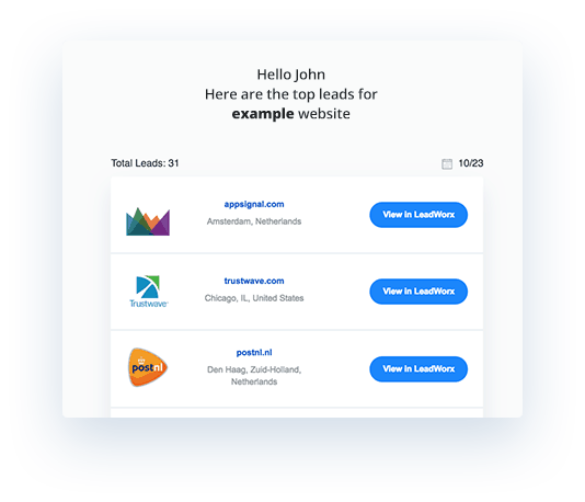 Leadworx Review: Email alerts
