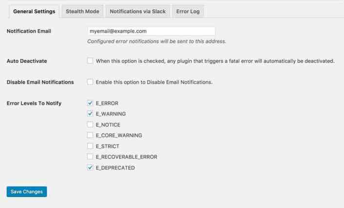 Settings on the Fatal Error Notify Pro plugin
