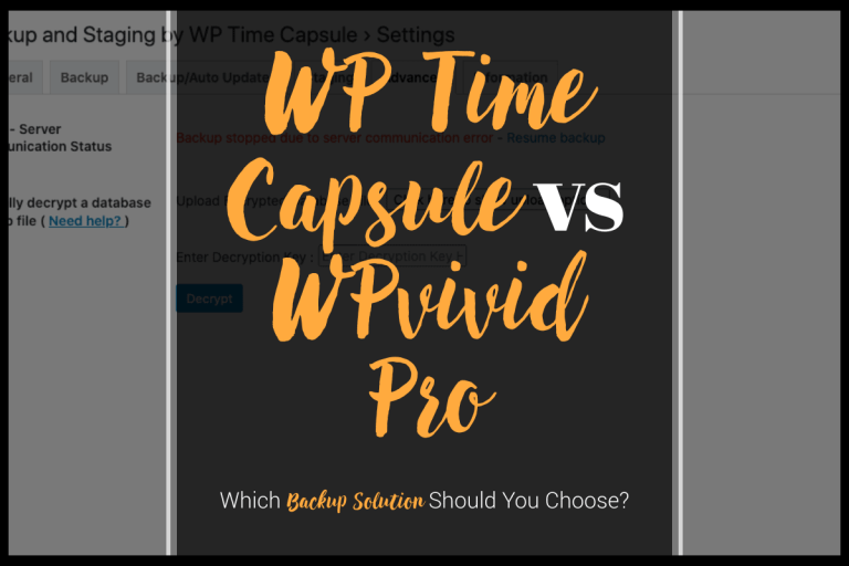 WP Time Capsule vs WPvivid Pro
