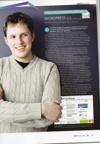 WordPress 2.5 2008 Open Source App Of The Year