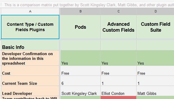 Plugin Comparison Sheet