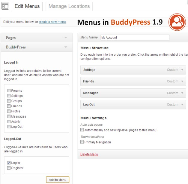 Dynamic BuddyPress Menus