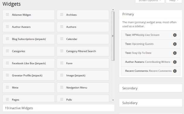 New widgets page design