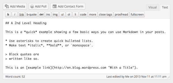 markdown-on-wordpressdotcom