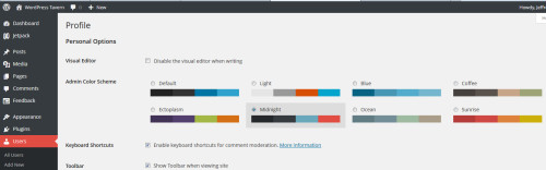 WordPress 3.8 Has Eight Different Color Schemes