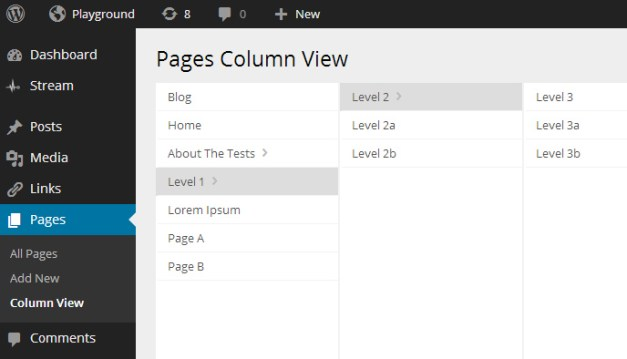 Column view of pages