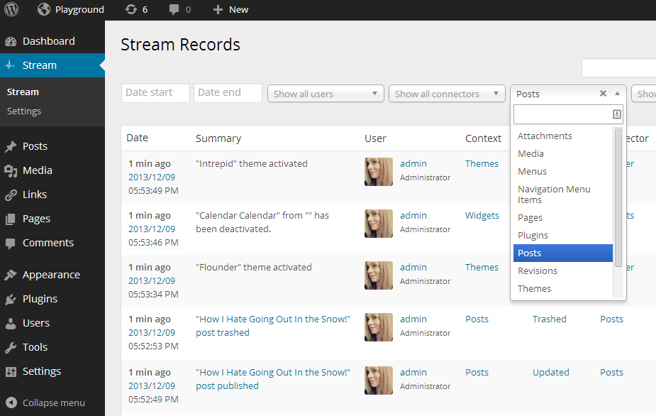 Stream Records: Sort by Context