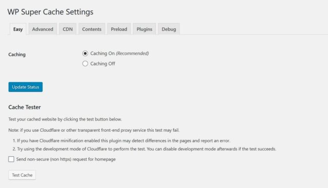 Easy Caching for WordPress with 2 plugins - WP Super Cache settings