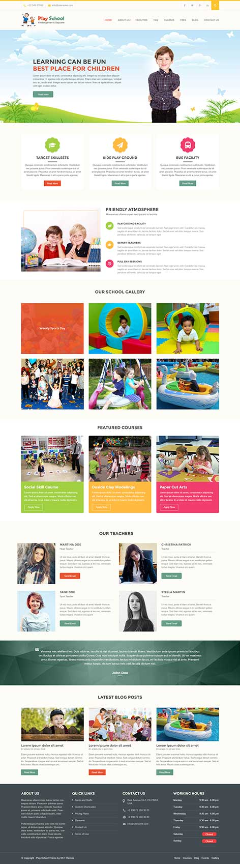 Creche school WordPress theme