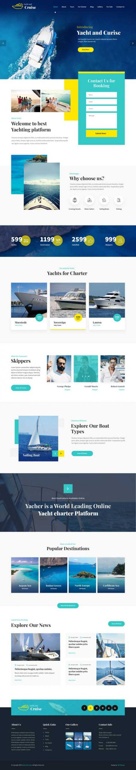 yacht and cruise WordPress theme