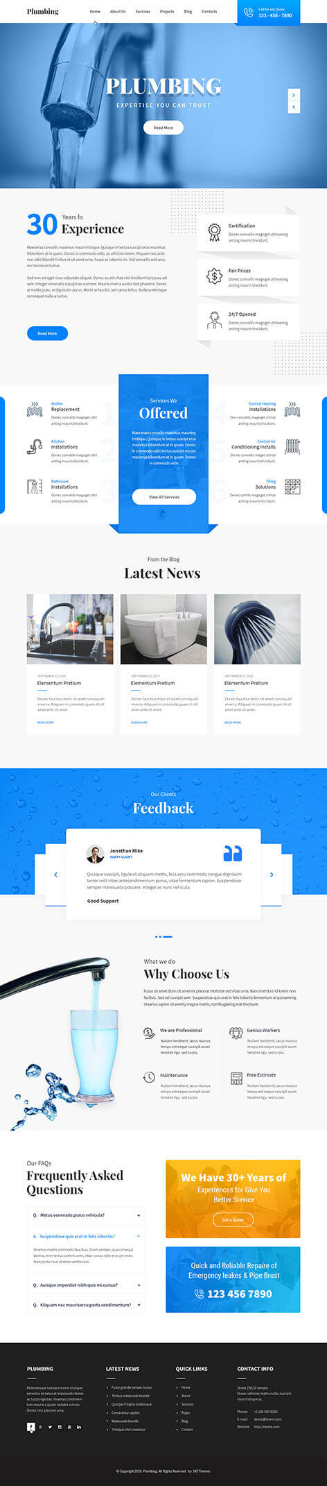 plumbing services WordPress theme