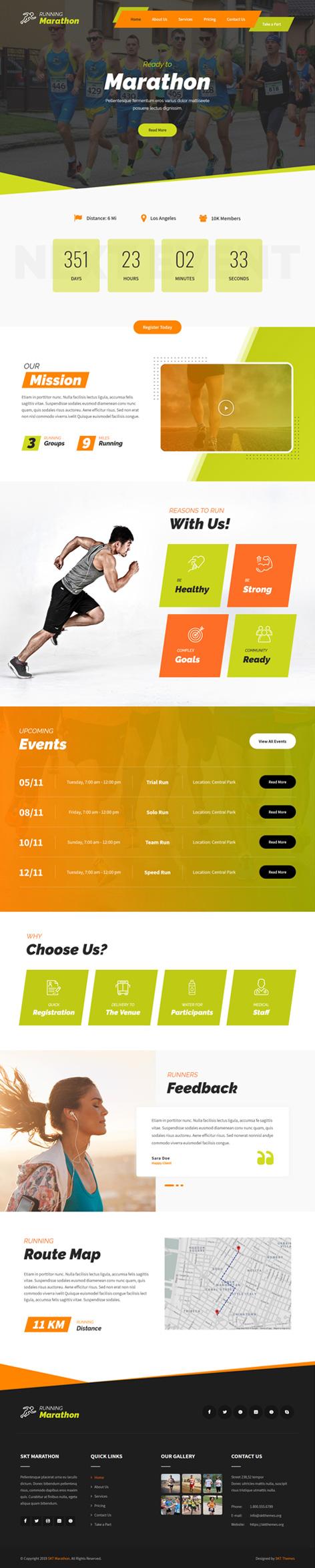 running sports WordPress theme