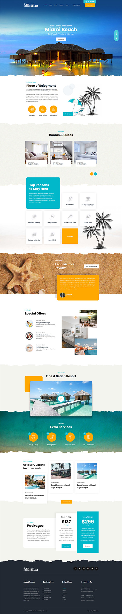 beach resort WordPress theme