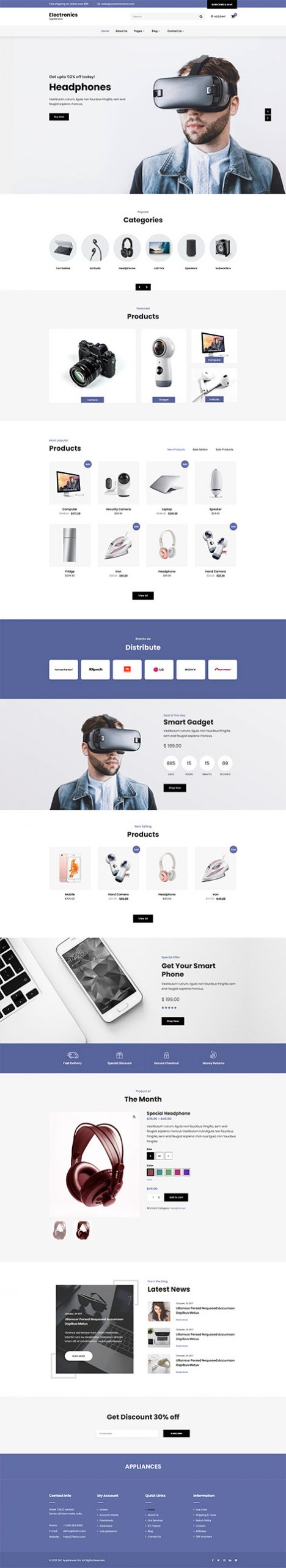 electricial appliances WordPress theme