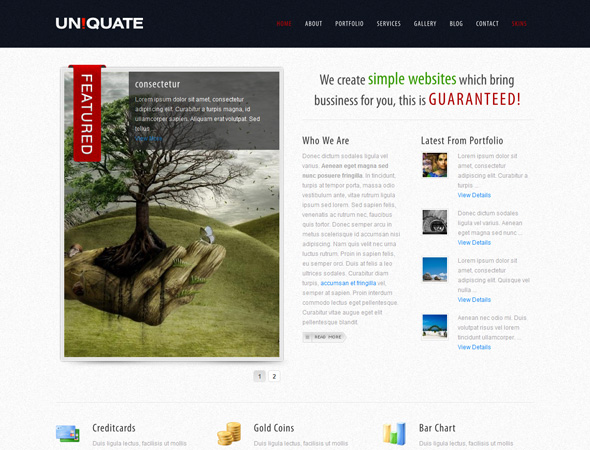 Uniquate WordPress CMS theme with 11 skins