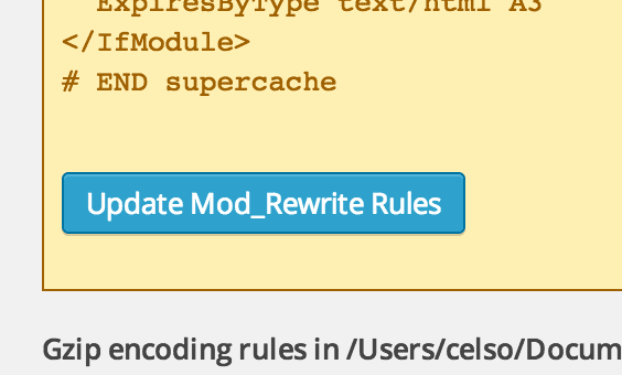 WP Super Cache Rules Update