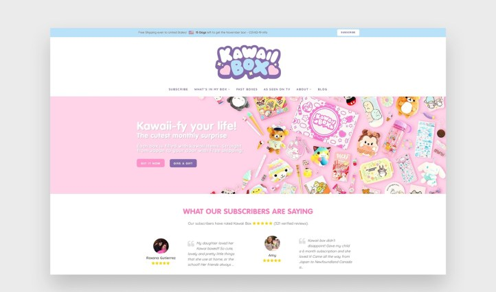 Kawaii Box website with a bubbly, rounded font