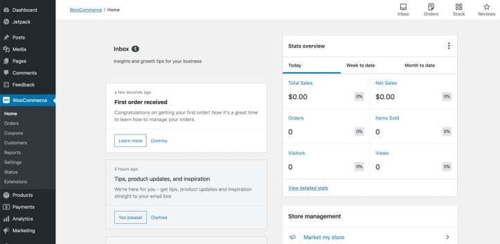new WooCommerce dashboard with stats overview and invox