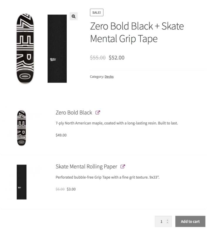 product bundle showing a skate board and accessories