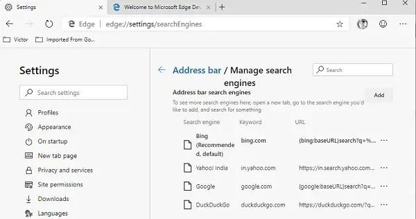 Add More Search Engine in Edge