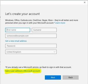 Add User Windows Microsoft Account