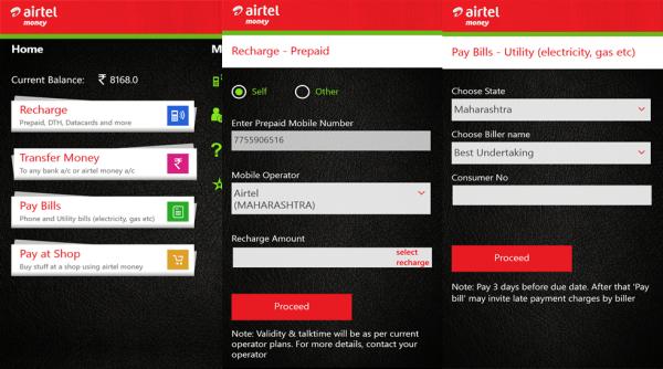Airtel Money App for Windows Phone