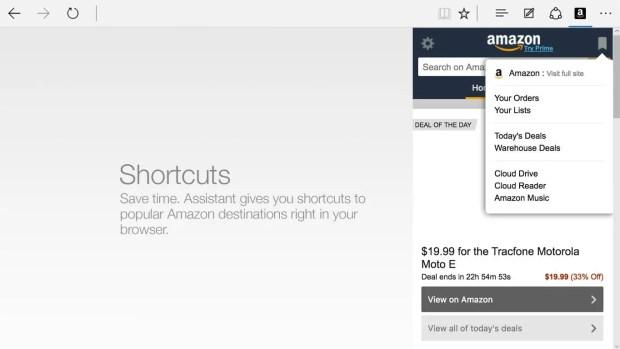 Amazon Extension for Edge on Windows 10