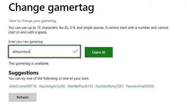 Change Xbox Gamertag Online