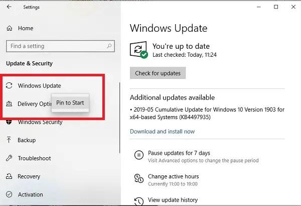 Pin Windows Settings and sub Settings to Start