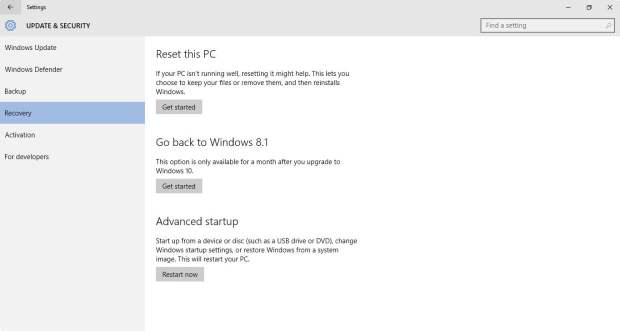 Roll back to Windows 8.1 or Windows 7