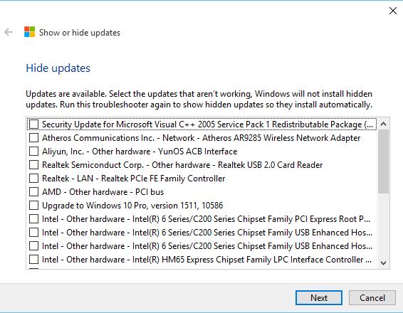 Hide Windows Updates