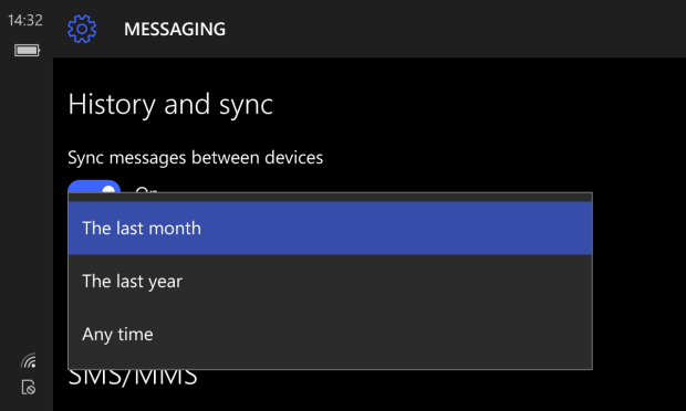 Text History and Sync in Windows 10 Mobile