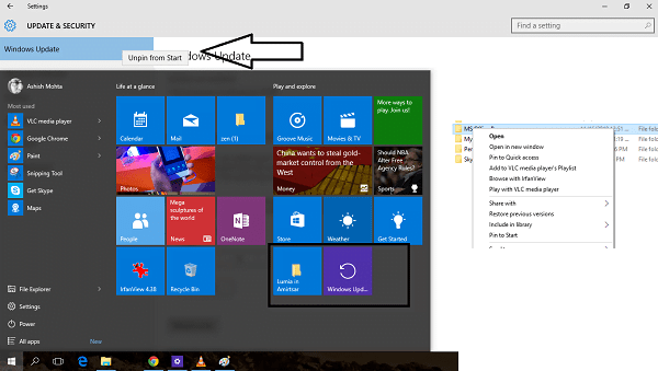 How to Pin Settings & Folders to Windows 10 Start Menu