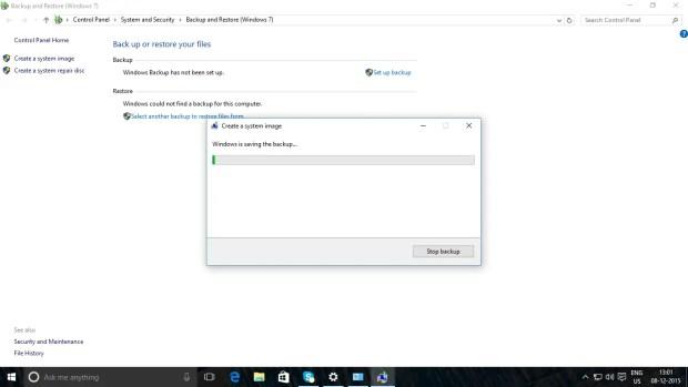 Windows 10 Backup Process