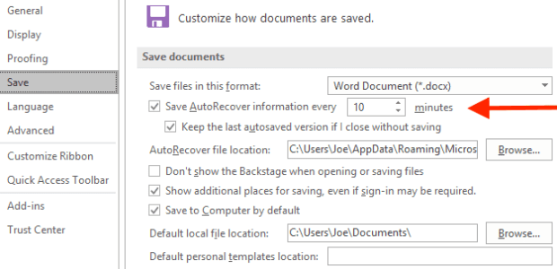 Autosave in Office Apps