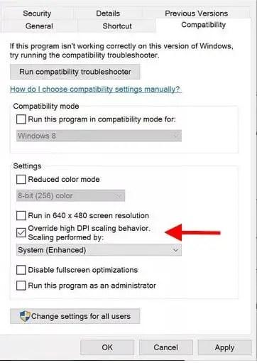 Windows 10 DPI Settings