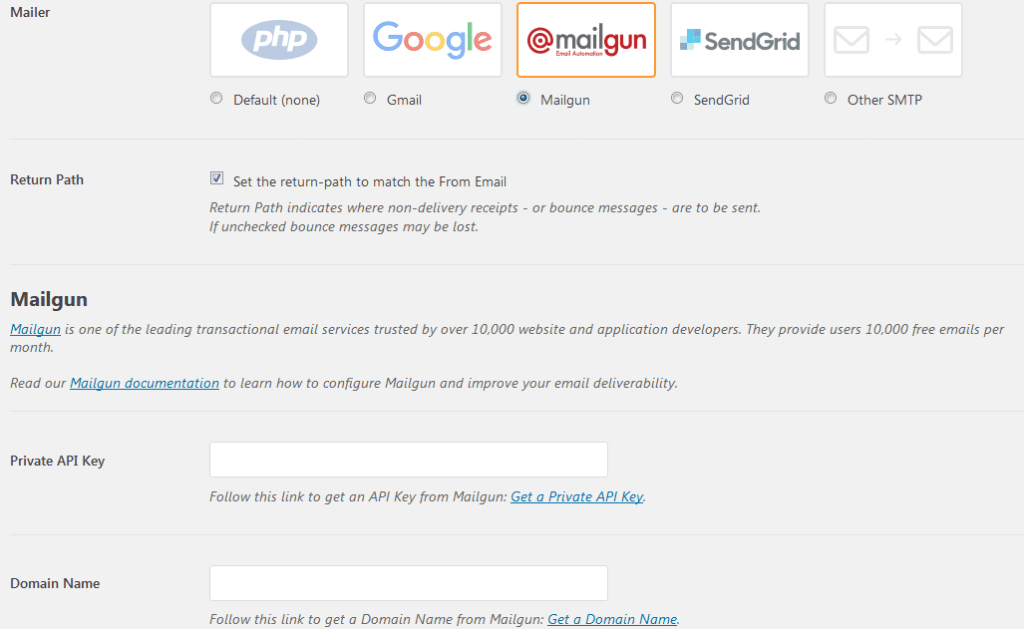 Mailgun SMTP setting wordpress