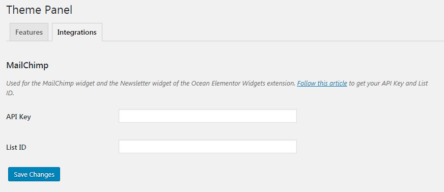 oceanwp mailchimp integration