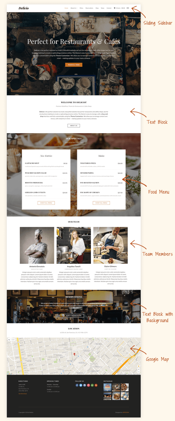 The Delicio restaurant WordPress theme