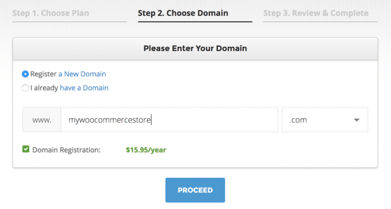 Choose a domain name for WooCommerce