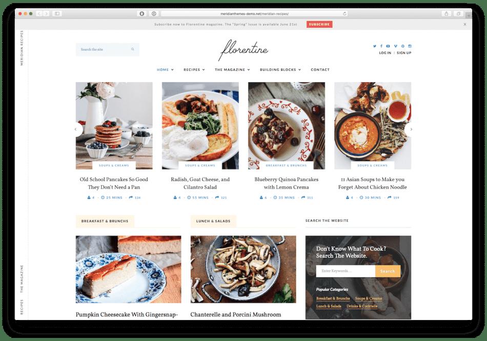 Screenshot of the Florentine food blog WordPress theme